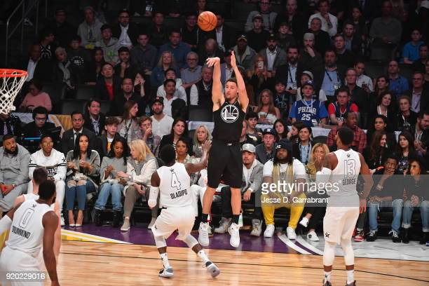 Klay Thompson of Team Curry shoots a three pointer against Team LeBron during the NBA AllStar Game as a part of 2018 NBA AllStar Weekend at STAPLES...