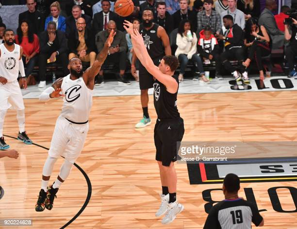 Klay Thompson of Team Curry shoots the ball against LeBron James of Team LeBron during the NBA AllStar Game as a part of 2018 NBA AllStar Weekend at...