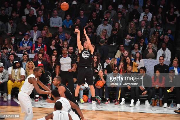 Klay Thompson of Team Curry shoots the ball against Team LeBron during the NBA AllStar Game as a part of 2018 NBA AllStar Weekend at STAPLES Center...