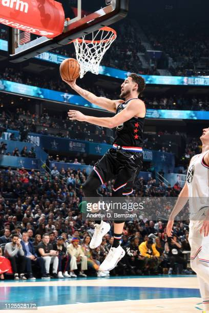 Klay Thompson of Team LeBron goes to the basket against Team Giannis during the 2019 NBA AllStar Game on February 17 2019 at the Spectrum Center in...