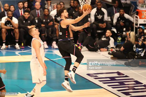 Klay Thompson of Team LeBron goes to the basket during the 2019 NBA AllStar Game on February 17 2019 at the Spectrum Center in Charlotte North...