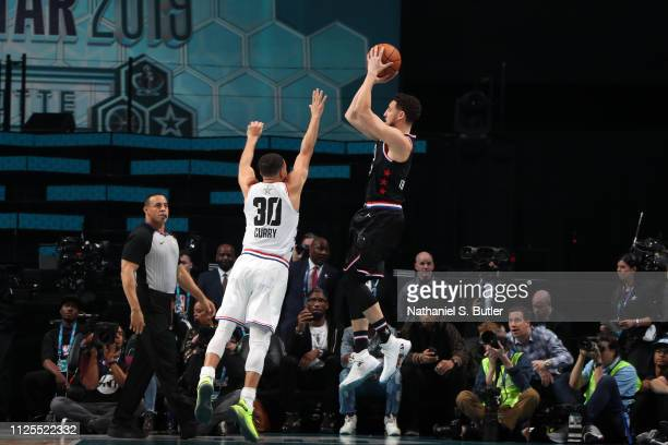 Klay Thompson of Team LeBron shoots the ball against Stephen Curry of Team Giannis during the 2019 NBA AllStar Game on February 17 2019 at the...