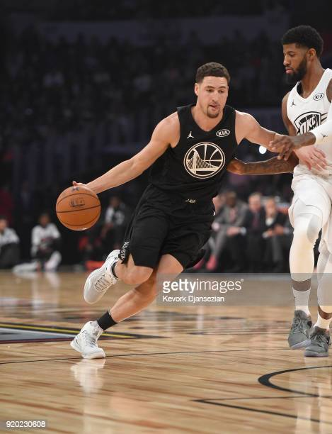 Klay Thompson of Team Stephen drives during the NBA AllStar Game 2018 at Staples Center on February 18 2018 in Los Angeles California