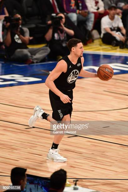 Klay Thompson of Team Stephen handles the ball against Team LeBron during the NBA AllStar Game as a part of 2018 NBA AllStar Weekend at STAPLES...