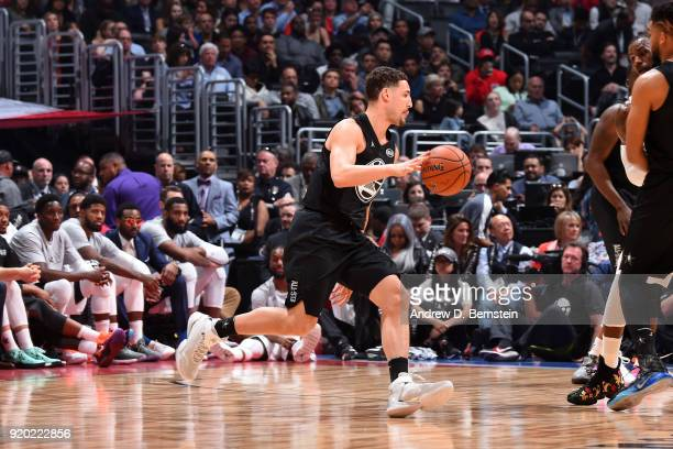 Klay Thompson Of Team Stephen handles the ball during the NBA AllStar Game as a part of 2018 NBA AllStar Weekend at STAPLES Center on February 18...