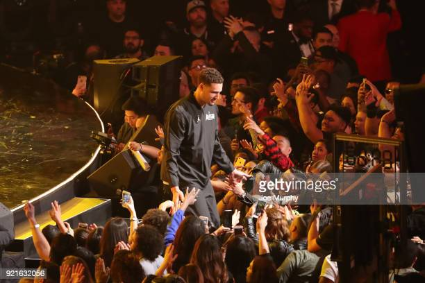 Klay Thompson of team Stephen is introduced during the NBA AllStar Game as a part of 2018 NBA AllStar Weekend at STAPLES Center on February 18 2018...