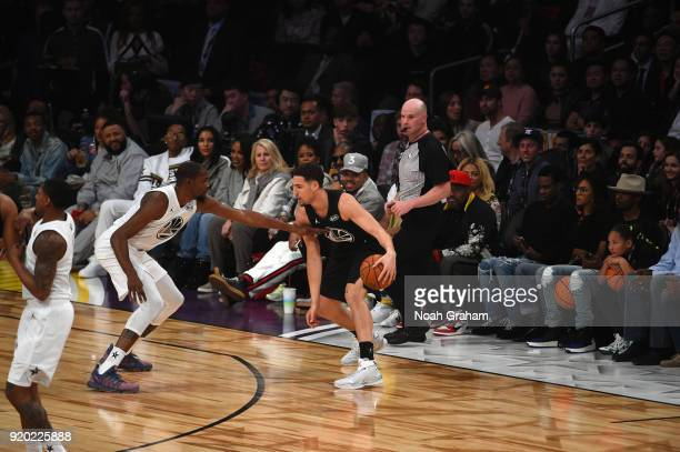 Klay Thompson of team Stephen looks to score against Kevin Durant of team LeBron during the NBA AllStar Game as a part of 2018 NBA AllStar Weekend at...