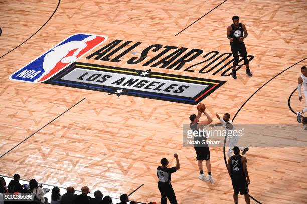 Klay Thompson of team Stephen shoots against Kyrie Irving of team LeBron during the NBA AllStar Game as a part of 2018 NBA AllStar Weekend at STAPLES...