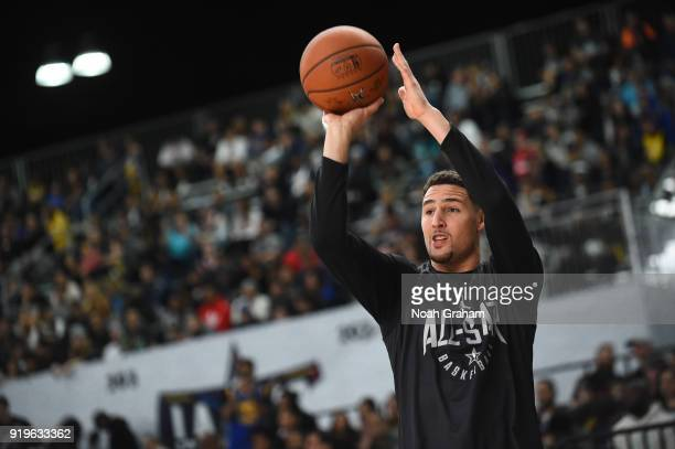 Klay Thompson of team Stephen shoots during the 2018 NBA All Star Practice as part of 2018 AllStar Weekend at Verizon Up Arena at LACC on February 17...