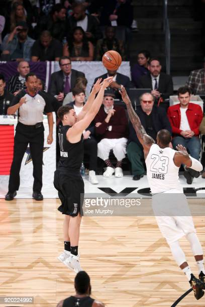 Klay Thompson of Team Stephen shoots the ball against Team LeBron during the NBA AllStar Game as a part of 2018 NBA AllStar Weekend at STAPLES Center...