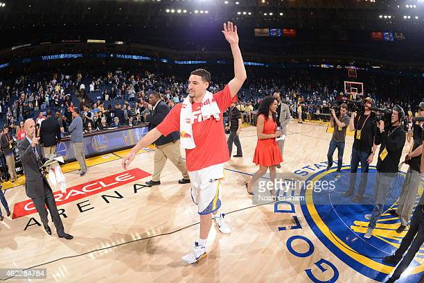 Klay Thompson of the Golden State Warriors after defeating the Sacramento Kings and having a NBA record setting 3rd quarter scoring 37 points on...