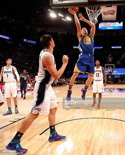 Klay Thompson of the Golden State Warriors and Team Shaq lays the ball up in the first half in the BBVA Rising Stars Challenge 2013 part of the 2013...