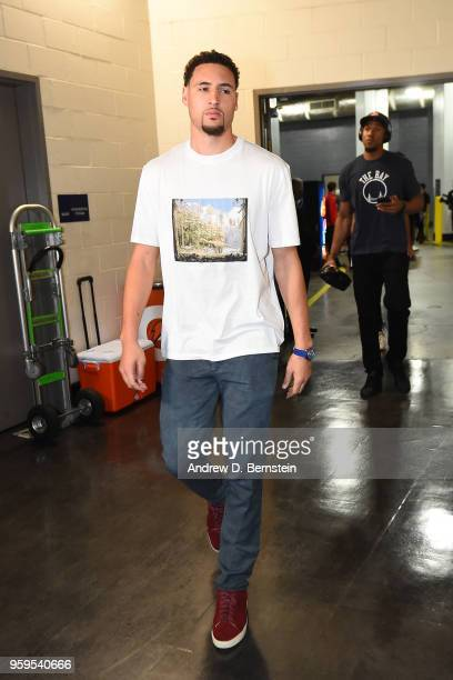 Klay Thompson of the Golden State Warriors arrives before Game One of the Western Conference Finals against the Houston Rockets during the 2018 NBA...