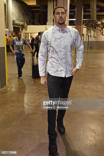 Klay Thompson of the Golden State Warriors arrives prior to a game against the New Orleans Pelicans at Smoothie King Center on October 28 2016 in New...