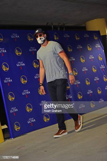 Klay Thompson of the Golden State Warriors arrives to the arena before the game against Oklahoma City Thunder on April 8, 2021 at Chase Center in San...
