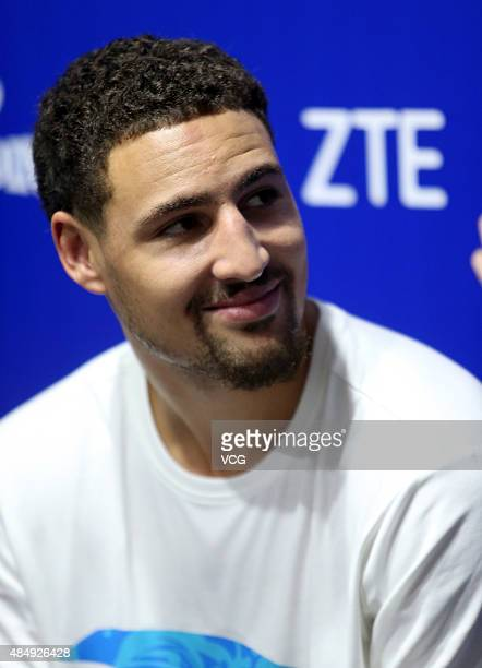 Klay Thompson of the Golden State Warriors attends NBA Nation event at Wuhan International Conference and Exhibition Center on August 22 2015 in...