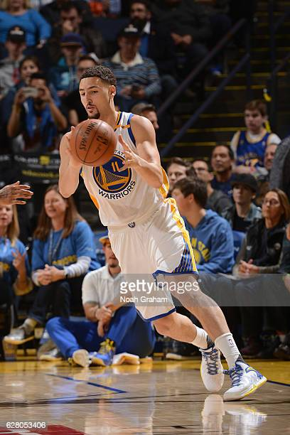 Klay Thompson of the Golden State Warriors catches a pass during the game against the Indiana Pacers on December 5 2016 at ORACLE Arena in Oakland...