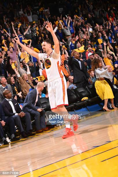 Klay Thompson of the Golden State Warriors celebrates a three point basket during the game against the Los Angeles Clippers on January 28 2017 at...