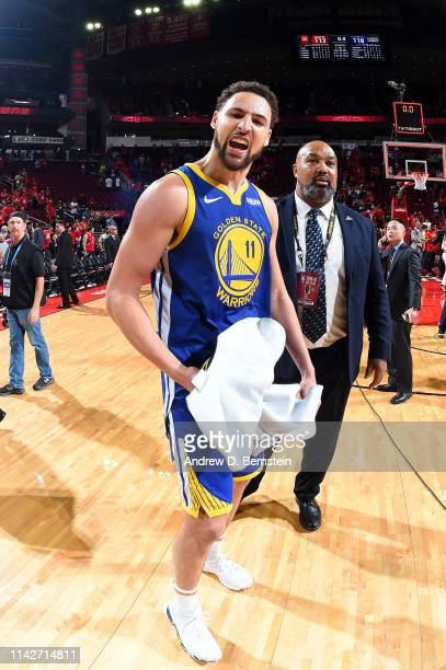 Klay Thompson of the Golden State Warriors celebrates after Game Six of the Western Conference Semifinals against the Houston Rockets during the 2019...