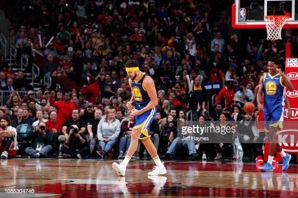Klay Thompson of the Golden State Warriors celebrates after hitting his 14th three pointer to break the single game record for the most three's...
