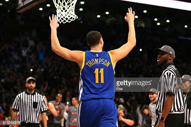 Klay Thompson of the Golden State Warriors celebrates after winning the Foot Locker ThreePoint Contest during NBA AllStar Weekend 2016 at Air Canada...