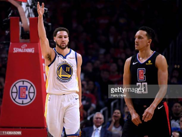 Klay Thompson of the Golden State Warriors celebrates his blocked shot in front of Landry Shamet of the LA Clippers during a 132105 Warriors win...
