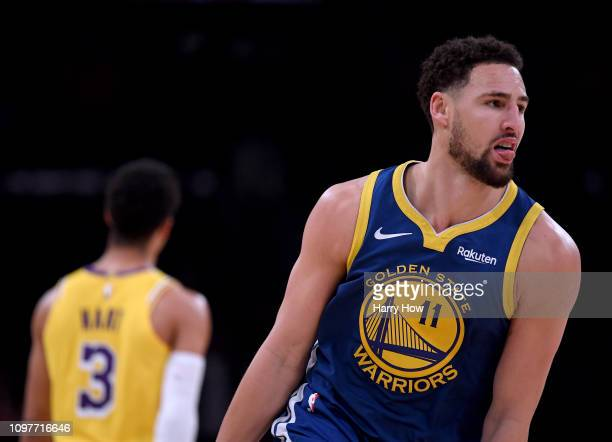 Klay Thompson of the Golden State Warriors celebrates his three pointer behind Josh Hart of the Los Angeles Lakers during a 130111 Warrior win at...
