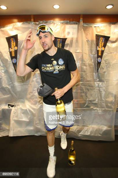 Klay Thompson of the Golden State Warriors celebrates in the locker room after winning the NBA Championsip in Game Five of the 2017 NBA Finals...