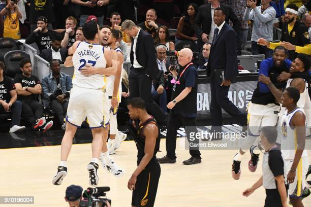 Klay Thompson of the Golden State Warriors celebrates with Zaza Pachulia after defeating the Cleveland Cavaliers and winning the NBA Championship...