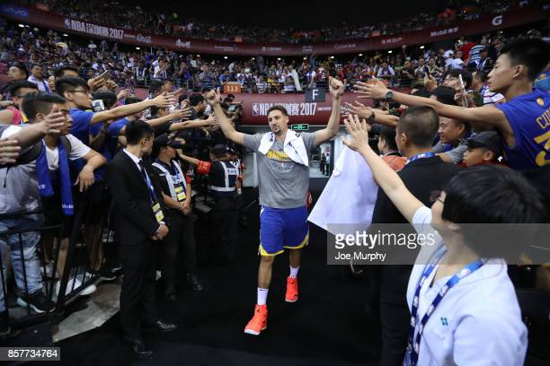Klay Thompson of the Golden State Warriors comes through the tunnel after halftime against the Minnesota Timberwolves as part of the 2017 Global...