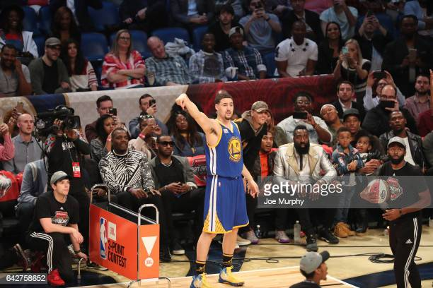 Klay Thompson of the Golden State Warriors competes in the JBL ThreePoint Contest during State Farm AllStar Saturday Night as part of the 2017 NBA...