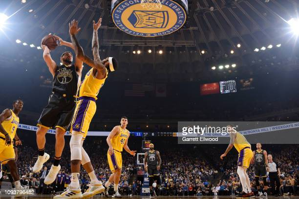 Klay Thompson of the Golden State Warriors drives to the basket during the game against Brandon Ingram of the Los Angeles Lakers on February 2 2019...