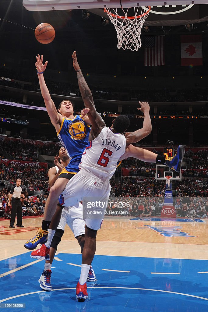 Klay Thompson #11 of the Golden State Warriors drives to the basket against the Los Angeles Clippers at Staples Center on January 5, 2013 in Los Angeles, California.