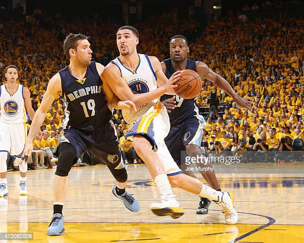 Klay Thompson of the Golden State Warriors drives to the basket against the Memphis Grizzlies during Game One of the Western Conference Semifinals...
