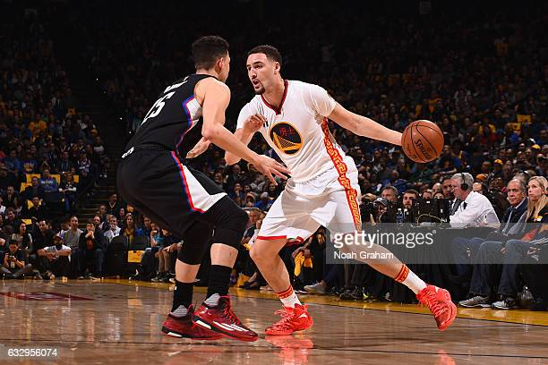 Klay Thompson of the Golden State Warriors drives to the basket against the LA Clippers during the game on January 28 2017 at ORACLE Arena in Oakland...