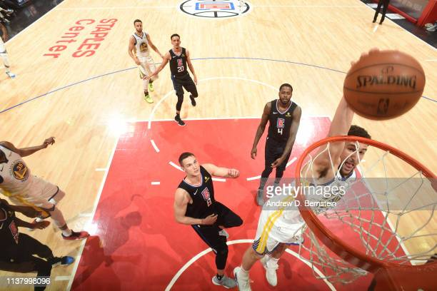 Klay Thompson of the Golden State Warriors dunks the ball against the LA Clippers in Game Three of Round One of the 2019 NBA Playoffs on April 18...