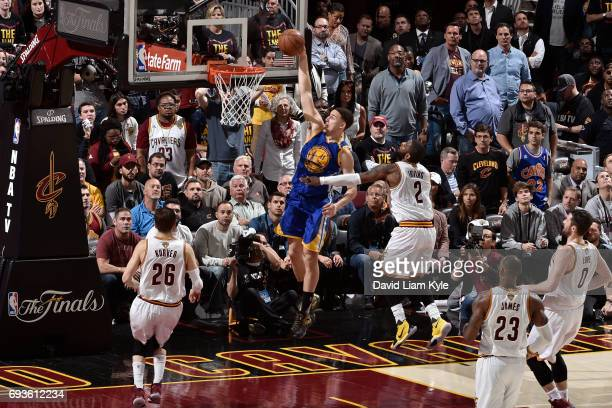Klay Thompson of the Golden State Warriors dunks the ball against the Cleveland Cavaliers in Game Three of the 2017 NBA Finals on June 7 2017 at...