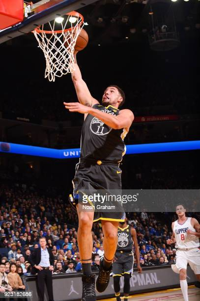 Klay Thompson of the Golden State Warriors goes to the basket against the LA Clippers on February 22 2018 at ORACLE Arena in Oakland California NOTE...