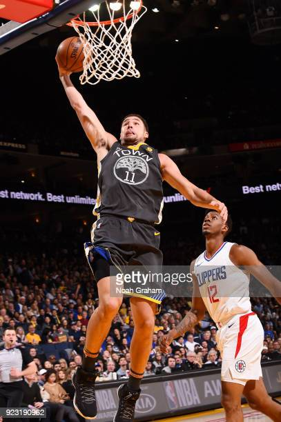 Klay Thompson of the Golden State Warriors goes up for a dunk against the LA Clippers on February 22 2018 at ORACLE Arena in Oakland California NOTE...