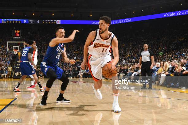 Klay Thompson of the Golden State Warriors handles the ball against the LA Clippers on April 7 2019 at ORACLE Arena in Oakland California NOTE TO...