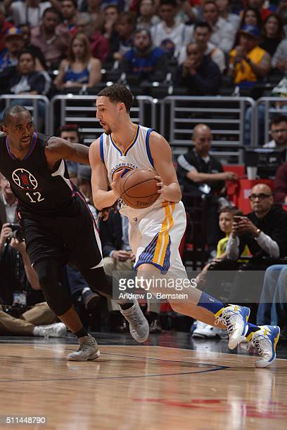 Klay Thompson of the Golden State Warriors handles the ball against the Los Angeles Clippers on February 20 2016 at STAPLES Center in Los Angeles...