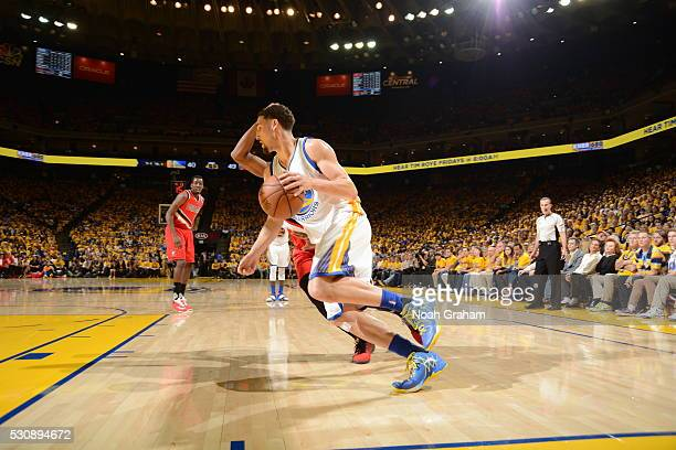 Klay Thompson of the Golden State Warriors handles the ball against the Portland Trail Blazers in Game Five of the Western Conference Semifinals on...