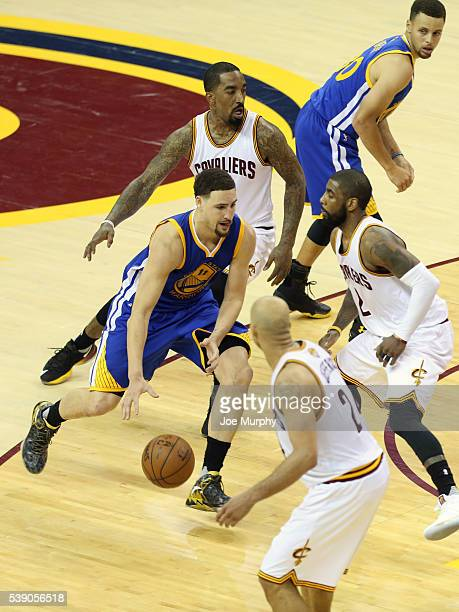 Klay Thompson of the Golden State Warriors handles the ball against the Cleveland Cavaliers in Game Three of the 2016 NBA Finals on June 8 2016 at...