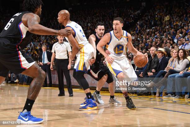 Klay Thompson of the Golden State Warriors handles the ball against the LA Clippers during the game on February 23 2017 at ORACLE Arena in Oakland...