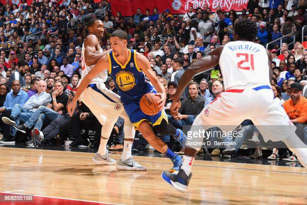 Klay Thompson of the Golden State Warriors handles the ball against the LA Clippers on October 30 2017 at STAPLES Center in Los Angeles California...