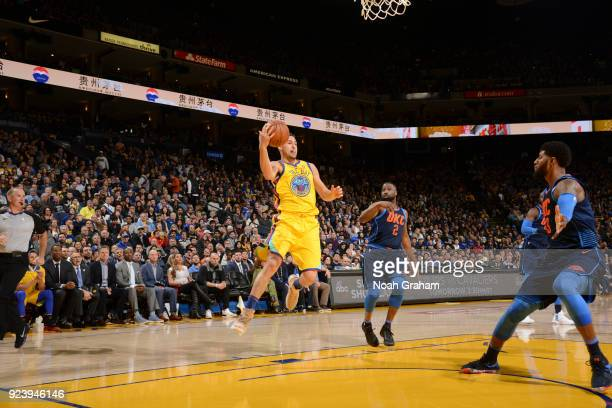 Klay Thompson of the Golden State Warriors handles the ball against the Oklahoma City Thunder on February 24 2018 at ORACLE Arena in Oakland...