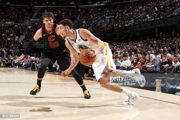 Klay Thompson of the Golden State Warriors handles the ball against the Cleveland Cavaliers in Game Four of the 2018 NBA Finals on June 8 2018 at...