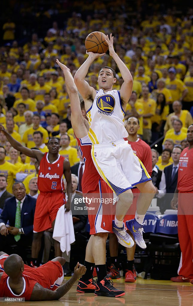 Klay Thompson #11 of the Golden State Warriors in action against the Los Angeles Clippers in Game Six of the Western Conference Quarterfinals during the 2014 NBA Playoffs at ORACLE Arena on May 1, 2014 in Oakland, California.