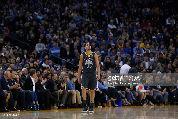Klay Thompson of the Golden State Warriors looks on after fouling against the Los Angeles Clippers at ORACLE Arena on February 22 2018 in Oakland...