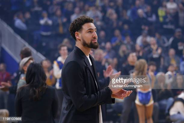 Klay Thompson of the Golden State Warriors looks on before the game against the Detroit Pistons at Chase Center on January 04, 2020 in San Francisco,...